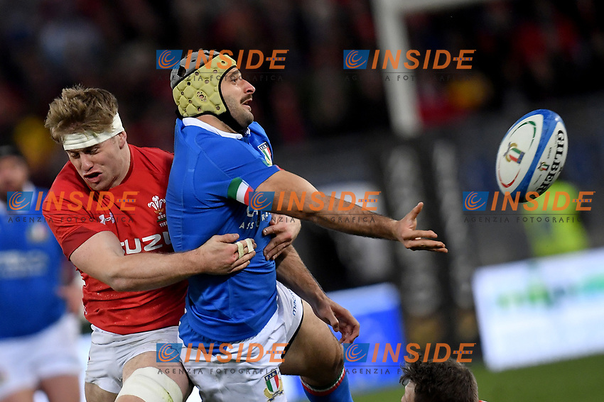 Angelo Esposito Italy,  Aaron Wainwright Wales.<br />  <br /> Roma 9-02-2019 Stadio Olimpico<br /> Rugby Six Nations tournament 2019  <br /> Italy - Wales <br /> Foto Antonietta Baldassarre / Insidefoto