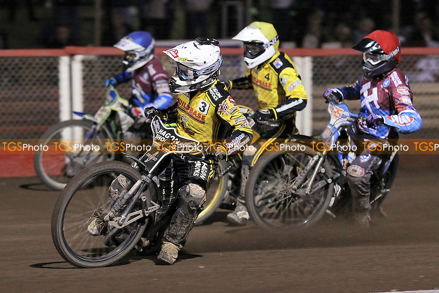 Heat 7: Stuart Robson (red), Justin Sedgmen (blue), Edward Kennett (white) and Kenni Larsen - Lakeside Hammers vs Coventry Bees - Sky Sports Elite League Speedway at Arena Essex Raceway, Purfleet - 10/09/12 - MANDATORY CREDIT: Gavin Ellis/TGSPHOTO - Self billing applies where appropriate - 0845 094 6026 - contact@tgsphoto.co.uk - NO UNPAID USE.