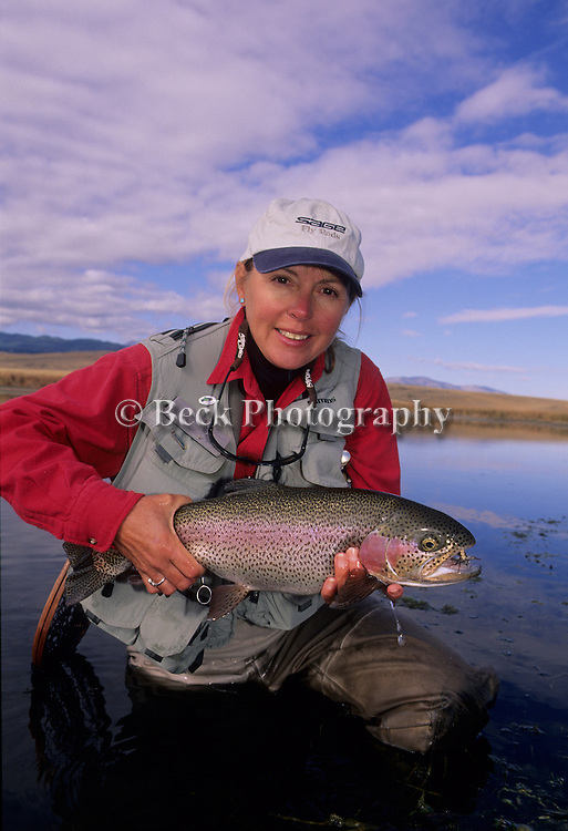 Cathy Beck with a nice rainbow trout.