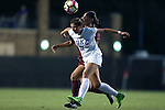 17 September 2016: Duke's Olivia Erlbeck (11) and Boston College's Samantha Hiatt (behind). The Duke University Blue Devils hosted the Boston College Eagles at Koskinen Stadium in Durham, North Carolina in a 2016 NCAA Division I Women's Soccer match. Duke won the game 3-2.