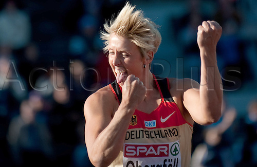 29 06 2012 Helsinki, Finland.  Christina Obergfoell of Germany reacts in the Women's Javelin final of the European Athletics Championships 2012 at the Olympic Stadium in Helsinki, Finland, 29 June 2012.