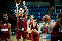 SPOKANE, WA - MARCH 25, 2011: Joslyn Tinkle at the Stanford Women's Basketball, NCAA West Regionals practice at Spokane Arena on March 25, 2011.