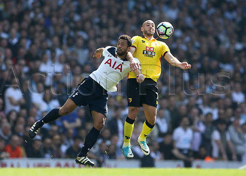 April 8th 2017,White Hart Lane, Tottenham, London, England; EPL Premier league football, Tottenham Hotspur versus Watford; Mousa Dembele of Tottenham Hotspur and Nordin Amrabat of Watford compete for the ball