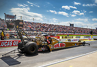 May 6, 2017; Commerce, GA, USA; NHRA top fuel driver Leah Pritchett launches off the starting line during qualifying for the Southern Nationals at Atlanta Dragway. Mandatory Credit: Mark J. Rebilas-USA TODAY Sports