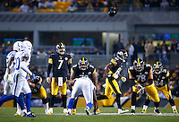 Ben Roethlisberger #7 of the Pittsburgh Steelers lines up behind center in the second half against the Indianapolis Colts during the game at Heinz Field on December 6, 2015 in Pittsburgh, Pennsylvania. (Photo by Jared Wickerham/DKPittsburghSports)