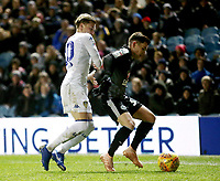 Reading's Liam Kelly shields the ball from Leeds United's Ezgjan Alioski<br /> <br /> Photographer Rich Linley/CameraSport<br /> <br /> The EFL Sky Bet Championship - Leeds United v Reading - Tuesday 27th November 2018 - Elland Road - Leeds<br /> <br /> World Copyright © 2018 CameraSport. All rights reserved. 43 Linden Ave. Countesthorpe. Leicester. England. LE8 5PG - Tel: +44 (0) 116 277 4147 - admin@camerasport.com - www.camerasport.com