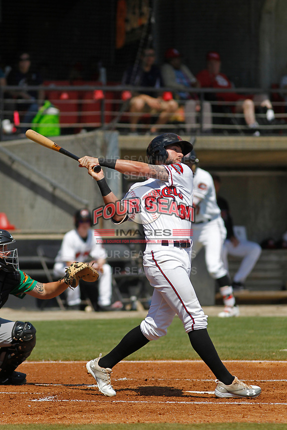 Carolina Mudcats infielder Lucas Erceg (34) at bat during a game against the Down East Wood Ducks on April 27, 2017 at Five County Stadium in Zebulon, North Carolina. Carolina defeated Down East 9-7. (Robert Gurganus/Four Seam Images)
