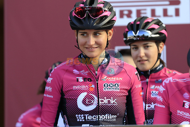 BePink at sign on before the Strade Bianche Women Elite 2019 running 133km from Siena to Siena, held over the white gravel roads of Tuscany, Italy. 9th March 2019.<br /> Picture: Eoin Clarke | Cyclefile<br /> <br /> <br /> All photos usage must carry mandatory copyright credit (© Cyclefile | Eoin Clarke)