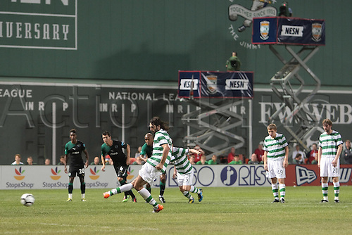 21 JUL 2010:  Celtic's Georgios Samaras (9) makes the penalty kick. Celtic defeated  Sporting Clube de Portugal 6-5 on penalty kicks in an international friendly match, part of the Fenway Football Challenge, at Fenway Park in Boston, Massachusetts on July 21, 2010.