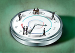 Illustrative image of business people on clock representing round the clock working