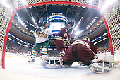 Dean Strong (Vermont - 8), Brian Gibbons (BC - 17), John Muse (BC - 1) - The Boston College Eagles defeated the University of Vermont Catamounts 4-0 in the Hockey East championship game on Saturday, March 22, 2008, at TD BankNorth Garden in Boston, Massachusetts.