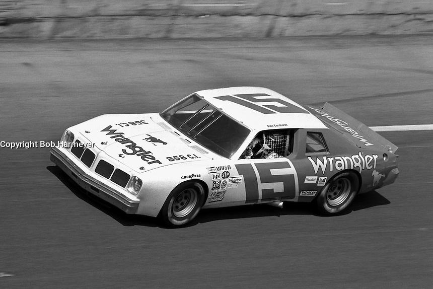 DAYTONA BEACH, FL - FEBRUARY 14: Dale Earnhardt drives the Bud Moore Ford through the Turn 4 banking during the Daytona 500 NASCAR Winston Cup race at the Daytona International Speedway in Daytona Beach, Florida, on February 14, 1982.