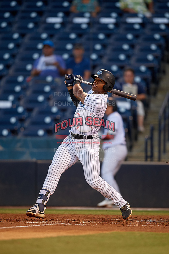 Tampa Tarpons Isiah Gilliam (24) at bat during a Florida State League game against the St. Lucie Mets on April 10, 2019 at George M. Steinbrenner Field in Tampa, Florida.  St. Lucie defeated Tampa 4-3.  (Mike Janes/Four Seam Images)