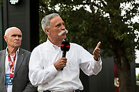 13th March 2020; Melbourne Grand Prix Circuit, Melbourne, Victoria, Australia; Formula One, Australian Grand Prix, Practice Day; Chase Carey, Andrew Westacott talks to the media about the cancellation of the Grand Prix  due to one of the Renault crew being tested positive for the Corona Virus