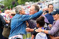 August 8, 2017: New England Patriots head coach Bill Belichick hugs Galynn Patricia Brady mother of Tom Brady at the New England Patriots training camp held at Gillette Stadium, in Foxborough, Massachusetts. Eric Canha/CSM