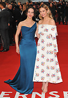 Jessica Brown Findlay and Lily James at the &quot;The Guernsey Literary And Potato Peel Pie Society&quot; world film premiere, Curzon Mayfair cinema, Curzon Street, London, England, UK, on Monday 09 April 2018.<br /> CAP/CAN<br /> &copy;CAN/Capital Pictures