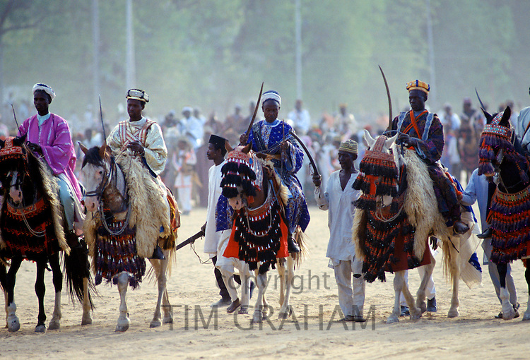Nigerian chiefs at tribal gathering durbar cultural event at Maiduguri in Nigeria, West Africa