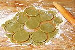Hamantashen Purim Jewish holiday food<br /> Pistachio dough preparation