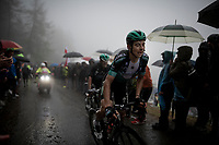 Davide Formolo (ITA/Bora-Hansgrohe) up the extremely wet, cold & misty Cole di Mortirolo <br /> <br /> Stage 16: Lovere to Ponte di Legno (194km)<br /> 102nd Giro d'Italia 2019<br /> <br /> ©kramon