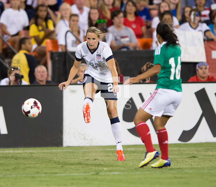 Leigh Ann Robinson, Stephany Mayor. The USWNT defeated Mexico, 7-0, during an international friendly at RFK Stadium in Washington, DC.  The USWNT defeated Mexico, 7-0.
