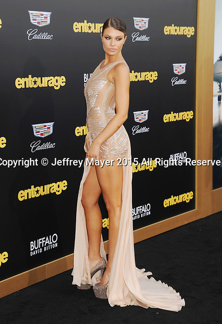WESTWOOD, CA - JUNE 01: Model Samantha Hoopes arrives at the 'Entourage' - Los Angeles Premiere at Regency Village Theatre on June 1, 2015 in Westwood, California.