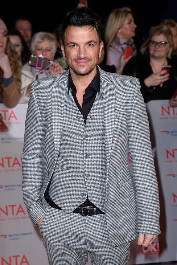 Peter Andre<br /> arriving for the National Television Awards 2018 at the O2 Arena, Greenwich, London<br /> <br /> <br /> ©Ash Knotek  D3371  23/01/2018