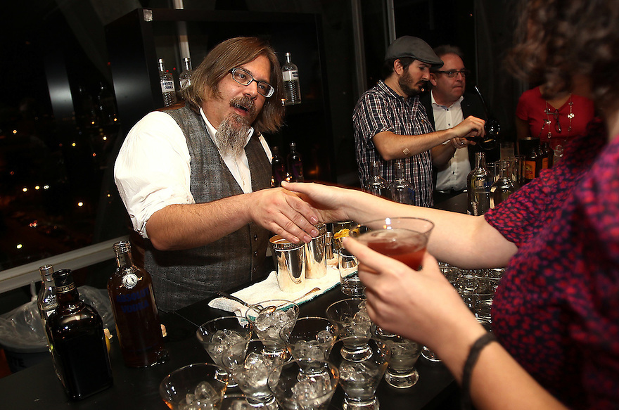 David Wondrich bartends at a private diner provided bye Absolut Vodka at a private location on Nov 12, 2010. ( For Pernod Ricard)