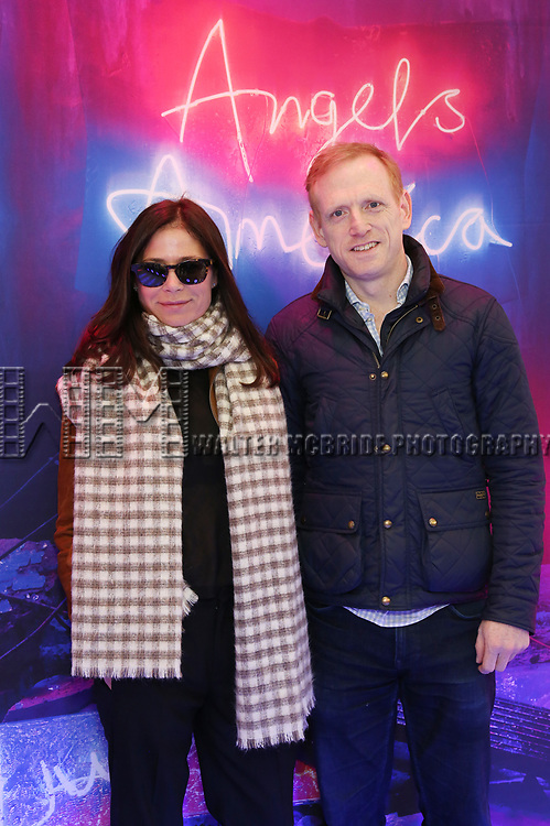 """Maura Tierney and Scott Shepherd attends the Broadway Opening Night Arrivals for """"Angels In America"""" - Part One and Part Two at the Neil Simon Theatre on March 25, 2018 in New York City."""