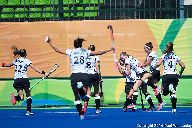 Celebration of the second goal by Germany during USA vs Germany in a women's quarterfinal game at the Rio 2016 Olympics at the Olympic Hockey Centre in Rio de Janeiro, Brazil.