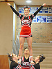 Kathryn Fritz, top, and the Newfield varsity cheerleaders perform during a competition held at Hauppauge High School on Saturday, Jan. 21, 2017.