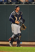 New Hampshire Fisher Cats catcher Jack Murphy (9) during a game against the Harrisburg Senators on July 21, 2015 at Metro Bank Park in Harrisburg, Pennsylvania.  New Hampshire defeated Harrisburg 7-1.  (Mike Janes/Four Seam Images)