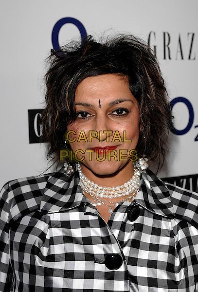 MEERA SYAL.The Grazia O2 Awards, Sunbeam Studio, London, England. .July 19th, 2007 .headshot portrait bindhi pearl necklace red lipstick black white checkered .CAP/FIN.©Steve Finn/Capital Pictures