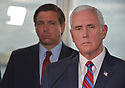 FORT LAUDERDALE, FLORIDA - MARCH 07: Florida Governor Ron DeSantis (R-FL) and U.S. Vice President Mike Pence stand together during a press conference after participating in a discussion held at Port Everglades Administration Building about possible coronavirus (COVID-19) issues that the cruise line company leaders are experiencing on Saturday on March 07, 2020 in Fort Lauderdale, Florida. U.S. Vice President Pence and the coronavirus task force are heading up the efforts to combat the virus in the United States.  ( Photo by Johnny Louis / jlnphotography.com )