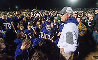 NWA Democrat-Gazette/BEN GOFF @NWABENGOFF<br /> Scott Hyatt, Booneville head coach, joins players in celebration after defeating Prescott Saturday, Dec. 1, 2018, during the class 3A state semifinal game at Bearcat Stadium in Booneville.