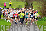 The runners take off at the third leg of the Gneeveguilla AC Winter Road race series in Killarney National Park on Saturday led by Maureen Harrington (697), Richard O'Brien (887) and John Barrett (619)..
