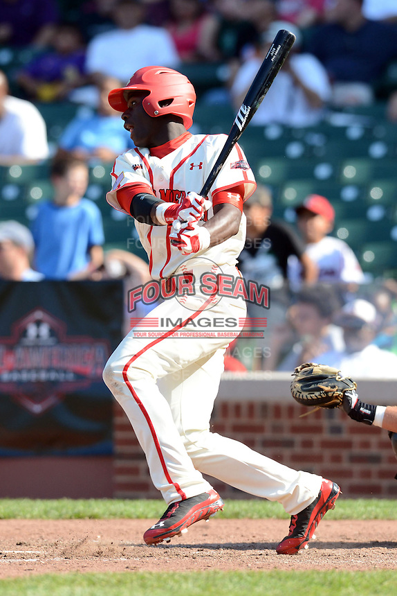 Outfielder Dazmon Cameron (24) of Eagle's Landing Christian Academy in McDonough, Georgia during the Under Armour All-American Game on August 24, 2013 at Wrigley Field in Chicago, Illinois.  (Mike Janes/Four Seam Images)