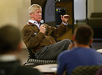 SPEARFISH, SD - OCTOBER 20, 2016 -- Libertarian vice-presidential candidate Bill Weld talks during a visit to the student union at Black Hills State University Thursday afternoon October 20, 2016.  About 125 people attended the campaign stop for the former Massachusetts governor.  (Photo by Richard Carlson/dakotapress.org)