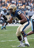 Pitt offensive lineman Dorian Johnson. The North Carolina Tar Heels defeated the Pitt Panthers 34-27 at Heinz Field, Pittsburgh Pennsylvania on November 16, 2013.