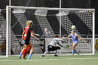 Rochester, NY - Friday July 01, 2016: Chicago Red Stars goalkeeper Michele Dalton (18), Chicago Red Stars midfielder Amanda Da Costa (13) during a regular season National Women's Soccer League (NWSL) match between the Western New York Flash and the Chicago Red Stars at Rochester Rhinos Stadium.