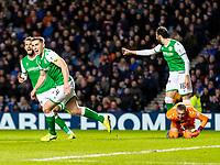 5th February 2020; Ibrox Stadium, Glasgow, Scotland; Scottish Premiership Football, Rangers versus Hibernian; Paul Hanlon of Hibernian wheels away to celebrate  after scoring the opening goal for 0-1 in the 35th minute
