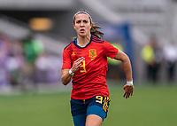 ORLANDO, FL - MARCH 05: Marta Cardona #9 of Spain sprints during a game between Spain and Japan at Exploria Stadium on March 05, 2020 in Orlando, Florida.