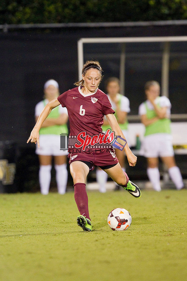 Megan Campbell (6) of the Florida State Seminoles passes the ball against the Wake Forest Demon Deacons at Spry Soccer Stadium on September 12, 2013 in Winston-Salem, North Carolina.  The Deacons and the Seminoles played to a 0-0 draw.   (Brian Westerholt/Sports On Film)