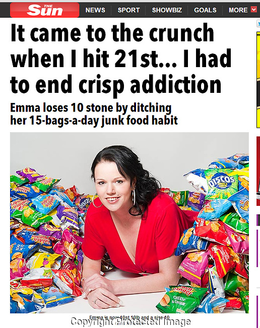 Commissioned shoot for The Sun. Requiring mobile studio with white backdrop, and LOTS of bags of crisps!  This is how the image appeared in the online version of The Sun.  In the next few images, you can see other choices of shot taken.<br /> <br /> http://www.thesun.co.uk/sol/homepage/woman/5481234/My-crisp-addiction-came-to-the-crunch-when-I-hit-21st.html