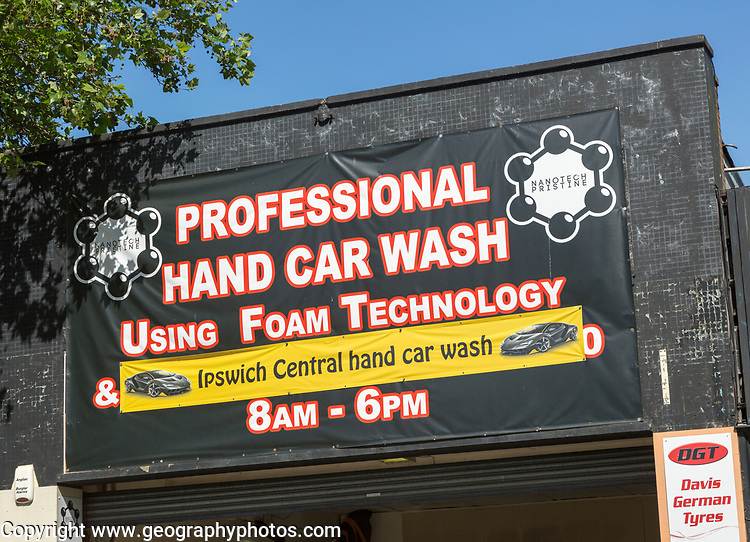 Banner sign for Professional Hand Car Wash using foam technology, Nanotech Pristine, Ipswich, Suffolk, England, UK