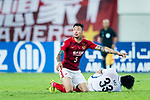 Guangzhou Defender Zhang Linpeng gestures during the AFC Champions League 2017 Round of 16 match between Guangzhou Evergrande FC (CHN) vs Kashima Antlers (JPN) at the Tianhe Stadium on 23 May 2017 in Guangzhou, China. (Photo by Power Sport Images/Getty Images)