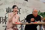 """October 6, 2016, Tokyo, Japan - Japanese actress Maiko and food expert Yukio Hattori eat stew served by French restaurant chef Kiyomi Mikuni at the promotional event of the """"Taste of Tokyo"""" in Tokyo on Thursday, October 6, 2016. The Taste of Tokyo is an gastronomy event using Tokyo's agriculture products at Marunouchi area through October 9.   (Photo by Yoshio Tsunoda/AFLO) LWX -ytd-"""
