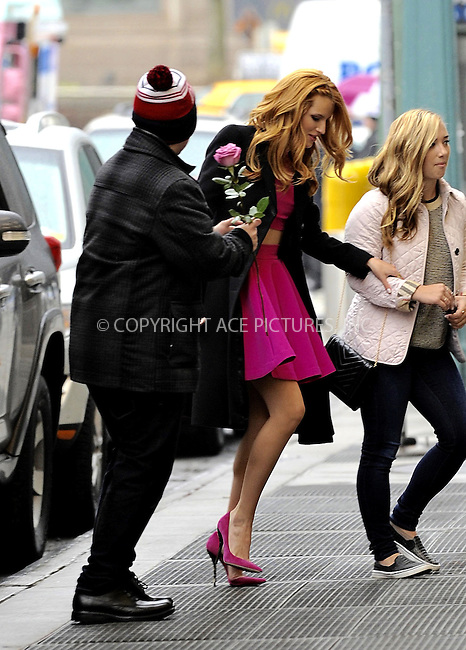 WWW.ACEPIXS.COM<br /> <br /> March 26 2015, New York City<br /> <br /> Actress Bella Thorne receives a rose from a fan as she walks in midtown Manhattan on March 26 2015 in New York City<br /> <br /> By Line: Curtis Means/ACE Pictures<br /> <br /> <br /> ACE Pictures, Inc.<br /> tel: 646 769 0430<br /> Email: info@acepixs.com<br /> www.acepixs.com