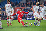 Cardiff - UK - 9th September :<br />Wales v Belarus Friendly match at Cardiff City Stadium.<br />Kieffer Moore of Wales takes a shot at the Belarus goal in the second half.<br />Editorial use only
