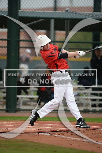 Steven Miller (8) of North Hills High School in Pittsburgh, Pennsylvania during the Under Armour All-American Pre-Season Tournament presented by Baseball Factory on January 14, 2017 at Sloan Park in Mesa, Arizona.  (Art Foxall/Mike Janes Photography)
