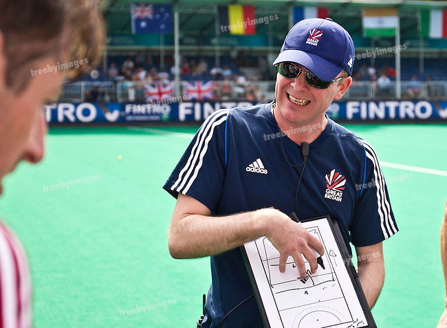 25/06/2015<br /> HWL Semi Final Antwerp Belgium 2015<br /> Great Britain v China Men<br /> Bobby Crutchley England coach<br /> Photo: Grant Treeby
